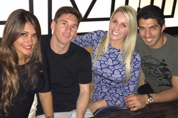 Friends for life: Messi and Suarez with WAGs