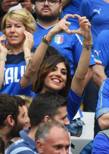 PARIS, FRANCE - JUNE 27: Jenny Darone wife of Lorenzo Insigne of Italy looks on during the UEFA EURO 2016 round of 16 match between Italy and Spain at Stade de France on June 27, 2016 in Paris, France. (Photo by Claudio Villa/Getty Images)