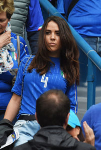 PARIS, FRANCE - JUNE 27: Francina Cormanni girlfriend of Matteo Darmian of Italy looks on during the UEFA EURO 2016 round of 16 match between Italy and Spain at Stade de France on June 27, 2016 in Paris, France. (Photo by Claudio Villa/Getty Images)