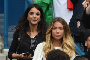 Alice Campello (R), girlfriend of Alvaro Morata of Spain and Chiara Biasi (L) girlfriend of Simone Zaza of Italy are seen prior to the UEFA EURO 2016 round of 16 match between Italy and Spain at Stade de France on June 27, 2016 in Paris, France. (Photo by Claudio Villa/Getty Images)