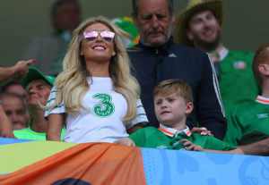 BORDEAUX, FRANCE - JUNE 18: Claudine Keane and Robert Junior, wife and son of Robbie Keane of Republic of Ireland in the stands during the UEFA EURO 2016 Group E match between Belgium and Republic of Ireland at Stade Matmut Atlantique on June 18, 2016 in Bordeaux, France. (Photo by Catherine Ivill - AMA/Getty Images)