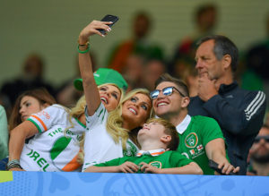 Bordeaux , France - 18 June 2016; Claudine Keane, wife of Republic of Ireland's Robbie Keane, poses for a picture with her mother Joan, son Robert and brother Ronan during the UEFA Euro 2016 Group E match between Belgium and Republic of Ireland at Nouveau Stade de Bordeaux in Bordeaux, France. (Photo By Stephen McCarthy/Sportsfile via Getty Images)