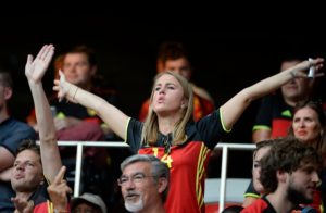 NICE, FRANCE - JUNE 22 : illustration picture of Belgian fans and Katrin Kerkhofs, wife of Dries Mertens forward of Belgiumduring the UEFA EURO 2016 phase final group E match between Sweden and Belgium at the Stade de Nice on June 22, 2016 in Nice, France , 22/06/2016 ( Photo by Philippe Crochet / Photonews via Getty Images)