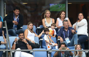 PARIS, FRANCE - JUNE 27: Shakira, wife of Gerard Pique and their two sons, Milan Pique Mebarak and the younger Sasha Pique Mebarak, along Pique's parents Montserrat Bernabeu and Joan Pique, plus Shakira's brother Tonino Mebarak (top left) attend the UEFA Euro 2016 round of 16 match between Italy and Spain at Stade de France on June 27, 2016 in Paris, France. (Photo by Jean Catuffe/Getty Images)